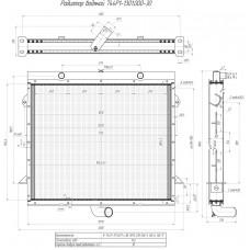 Радиатор водяной 744Р1-1301.000-30   трактор К-744Р с Дв. ЯМЗ 238 (НД-5,НД-6,НД-7)  (2-х ряд. медный )   (оренбургский радиатор)
